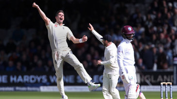 James Anderson removed Shai Hope for his fifth wicket