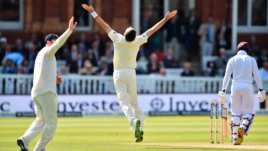 James Anderson celebrates his fifth wicket