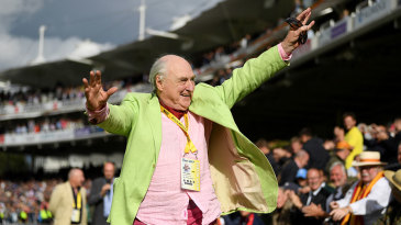 Henry Blofeld took a lap of honour after his final commentary stint