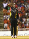 Sheldon Cottrell sends Sunil Narine back with a salute, Trinbago Knight Riders v St Kitts and Nevis Patriots, CPL 2017, final, Tarouba, September 9, 2017
