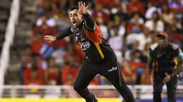 Tabraiz Shamsi wheels away after taking a wicket