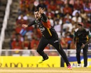 Tabraiz Shamsi wheels away after taking a wicket, Trinbago Knight Riders v St Kitts and Nevis Patriots, CPL 2017, final, Tarouba, September 9, 2017