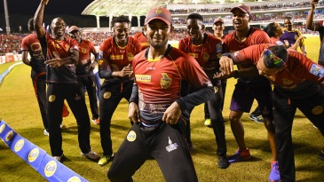 Denesh Ramdin leads the Knight Riders celebration