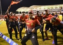 Denesh Ramdin leads the Knight Riders celebration, Trinbago Knight Riders v St Kitts and Nevis Patriots, CPL 2017, final, Tarouba, September 9, 2017