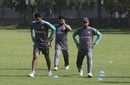Mohammad Nawaz, Azhar Ali, and Faheem Ashraf at a training session, Lahore, September 11, 2017