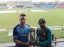Faf du Plessis and Sarfraz Ahmed pose with the Independence Cup, Lahore, September 11, 2017
