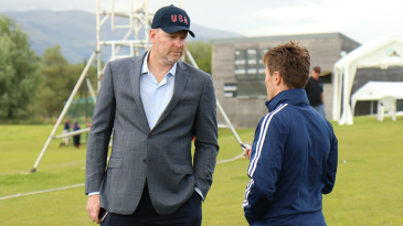 USA project manager Eric Parthen has a chat with USA high performance manager Tom Evans