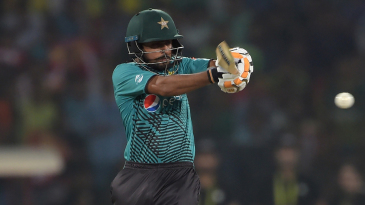 Babar Azam leaps to pull a short ball