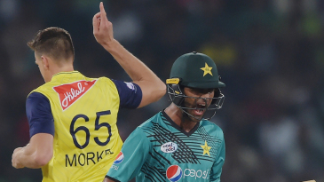 Fakhar Zaman lets out a roar of frustration after Morne Morkel sniped him out in the first over