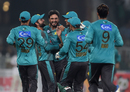 Rumman Raees is mobbed by his team-mates after he sent both the openers back in the same over, Pakistan v World XI, 1st T20I, Independence Cup 2017, Lahore, September 12, 2017
