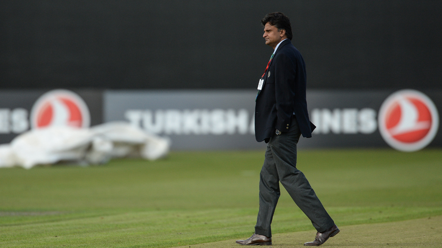 Match referee Javagal Srinath inspected the pitch before calling the game off