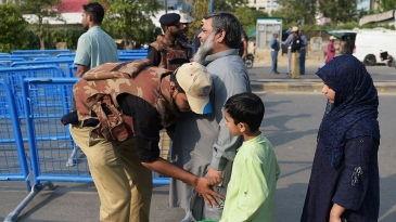 Security outside the Gaddafi was stringent as ever