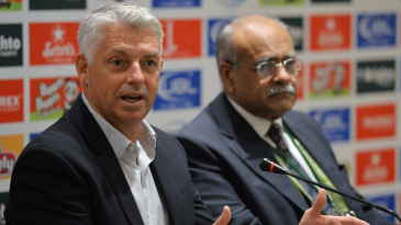 David Richardson and Najam Sethi address a press conference in Lahore