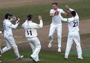 Essex celebrate a wicket for Sam Cook, Warwickshire v Essex, Specsavers Championship Division One, Edgbaston, September 12-15, 2017