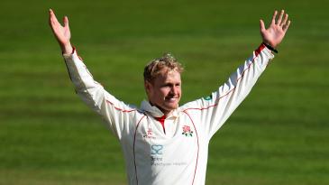 Matt Parkinson celebrates a Lancashire wicket