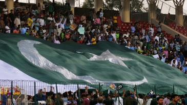 A gigantic Pakistani flag engulfs one of the stands