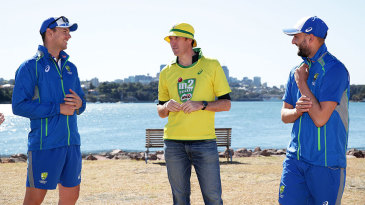 James Sutherland chats with Josh Hazlewood and Nathan Lyon during the Milo Cricket Australia shoot