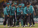 Pakistan captain Sarfraz Ahmed celebrates with teammates after series victory, Pakistan v World XI, 3rd T20I, Lahore, September 15, 2017