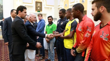 Afghanistan president and patron-in-chief Mohammad Ashraf Ghani greets players