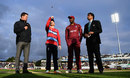 Eoin Morgan tosses the coin as Carlos Brathwaite prepares to call, England v West Indies, only T20I, Chester-le-Street, September 16, 2017
