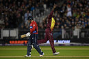 Carlos Brathwaite celebrates removing Jonny Bairstow, England v West Indies, only T20I, Chester-le-Street, September 16, 2017