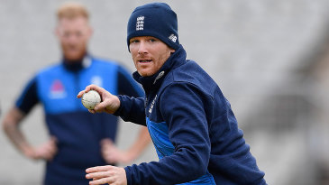 Eoin Morgan practises ahead of the first ODI against West Indies