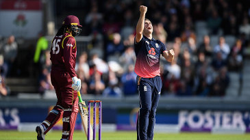 Chris Woakes claimed the wicket of Chris Gayle