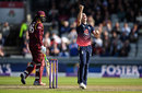 Chris Woakes claimed the wicket of Chris Gayle, England v West Indies, 1st ODI, Old Trafford, September 19, 2017