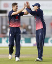 Chris Woakes gets a high five from Joe Root, England v West Indies, 1st ODI, Old Trafford, September 19, 2017