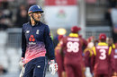 Alex Hales fell for 19 early in England's chase, England v West Indies, 1st ODI, Old Trafford, September 19, 2017