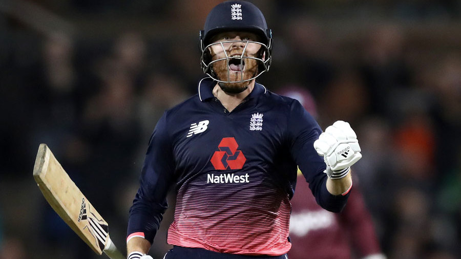 Jonny Bairstow celebrates reaching three figures