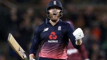 Jonny Bairstow celebrates reaching three figures