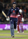 Jonny Bairstow celebrates reaching three figures, England v West Indies, 1st ODI, Old Trafford, September 19, 2017
