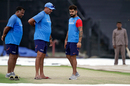 Virat Kohli and Ravi Shastri inspect the pitch on the eve of the match, India v Australia, 2nd ODI, Kolkata, September 20, 2017
