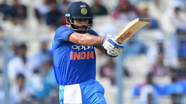 Virat Kohli flat-bats a pull shot