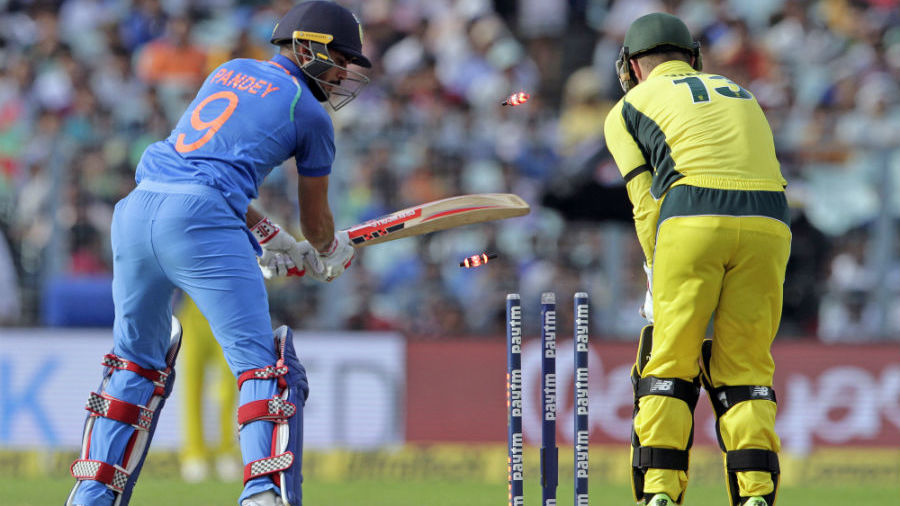 Manish Pandey was beaten by a quicker delivery from Ashton Agar