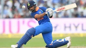 Virat Kohli attempts a rare sweep shot