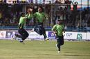 Rashid Khan is jubilant after taking a wicket, Band-e-Amir Dragons v Mis Ainak Knights, final, Shpageeza Cricket League, Kabul, September 22, 2017