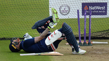 Ben Stokes took a blow on the foot during nets