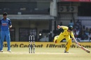 David Warner bends his back to complete a run, India v Australia, 3rd ODI, Indore