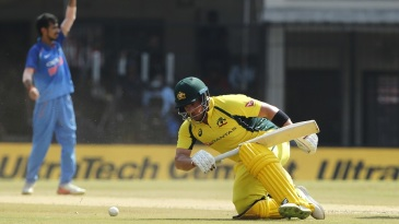 Aaron Finch survived a run out attempt early on