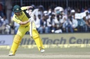Aaron Finch opens up to play into the leg side, India v Australia, 3rd ODI, Indore