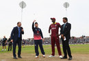 Eoin Morgan tosses the coin, with Jason Holder calling correctly, England v West Indies, 3rd ODI, Bristol, September 24, 2017