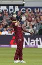 Jason Holder celebrates taking a caught-and-bowled, England v West Indies, 3rd ODI, Bristol, September 24, 2017