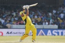Aaron Finch launches a six down the ground, India v Australia, 3rd ODI, Indore