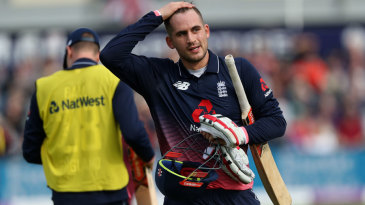 Alex Hales was lbw after making 36