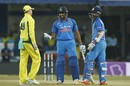 Rohit Sharma and Ajinkya Rahane chat with Steven Smith after a dead-ball call, India v Australia, 3rd ODI, Indore