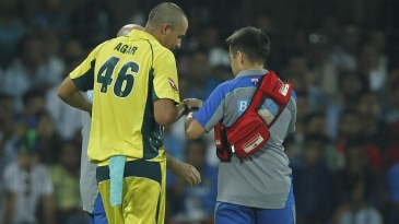 Ashton Agar injured his hand while diving near the boundary