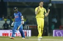Pat Cummins roars after trapping Ajinkya Rahane in front, India v Australia, 3rd ODI, Indore