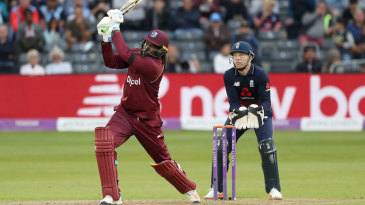 Chris Gayle smashes down the ground